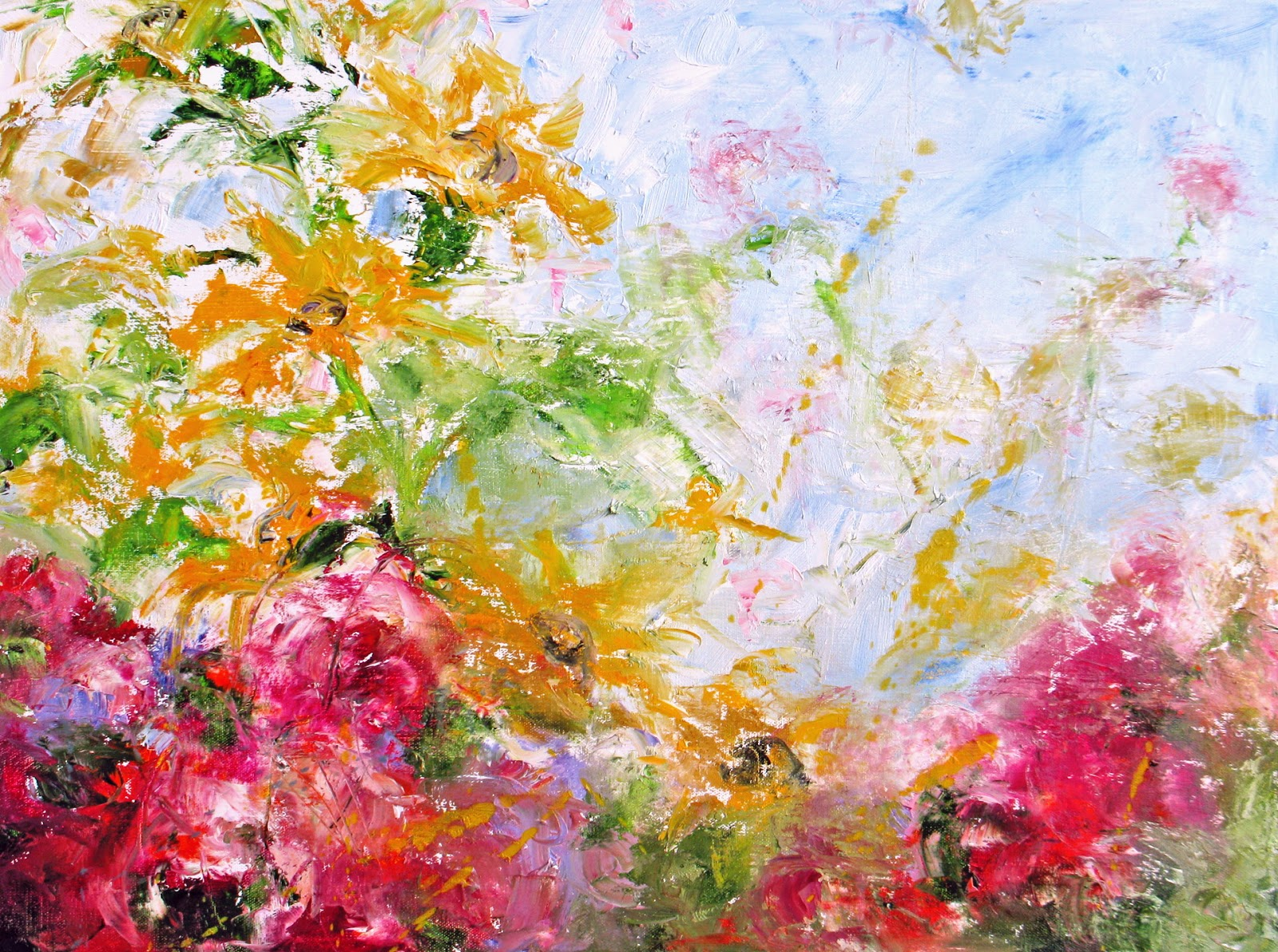 Daily painters abstract gallery sold spring garden i for Spring canvas paintings