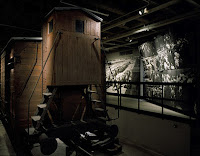 Front view of the railcar on display at the U.S. Holocaust Memorial Museum. Credit: Edward Owen, courtesy USHMM Photo Arvhives