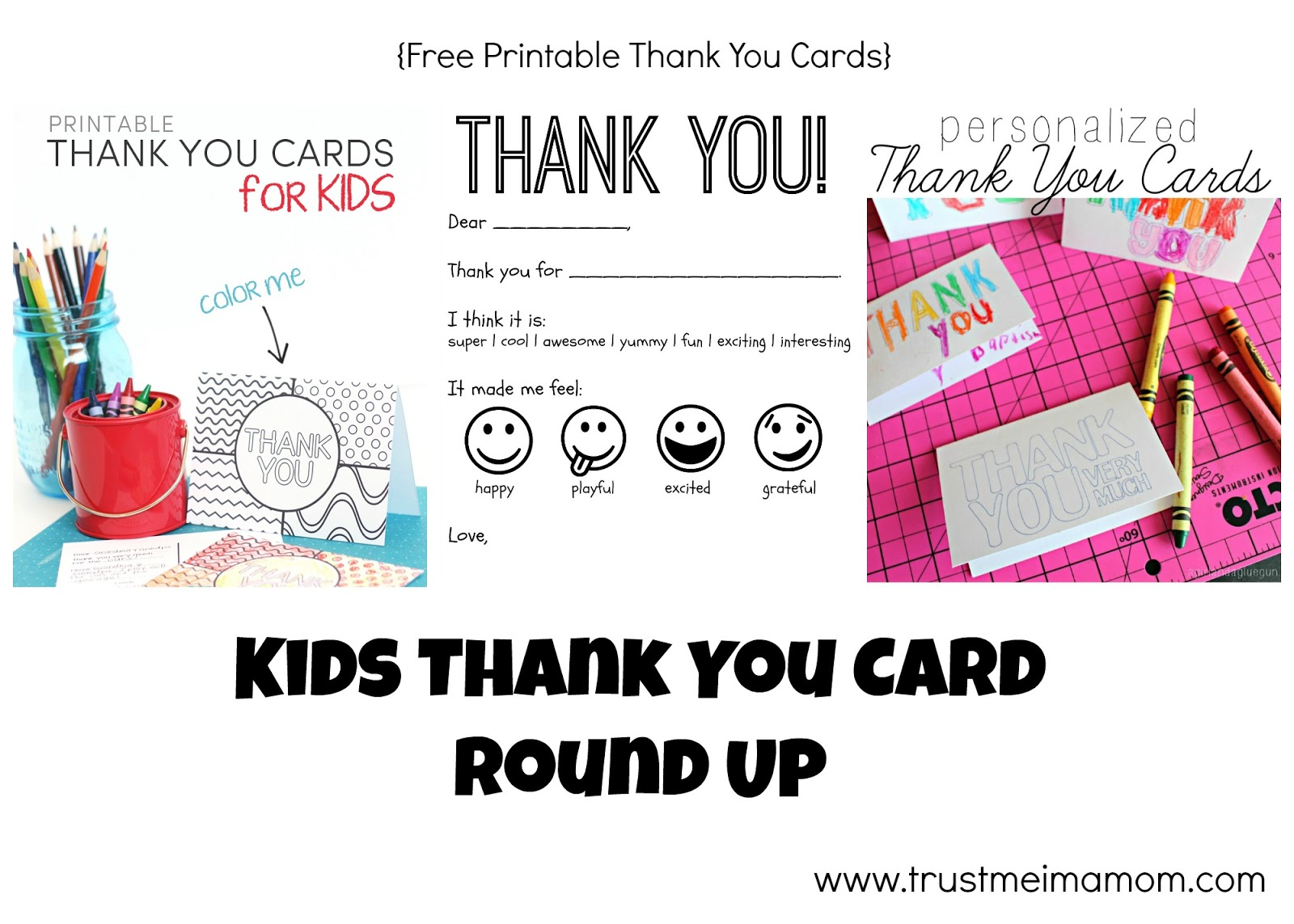 This is a graphic of Universal Free Printable Thank You Cards for Kids
