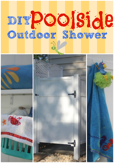 DIY outdoor shower using PVC fence panels via www.goldenboysandme.com