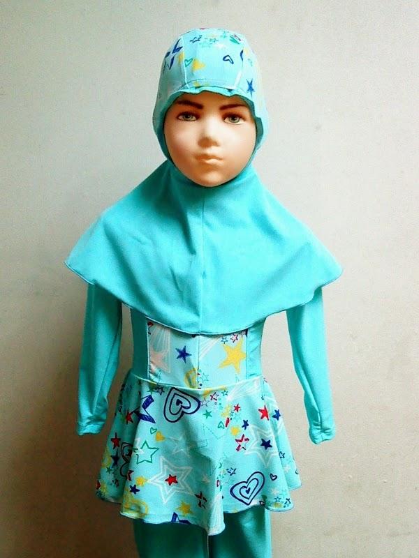 Baju renang muslim anak perempuan cantik banget warna biru