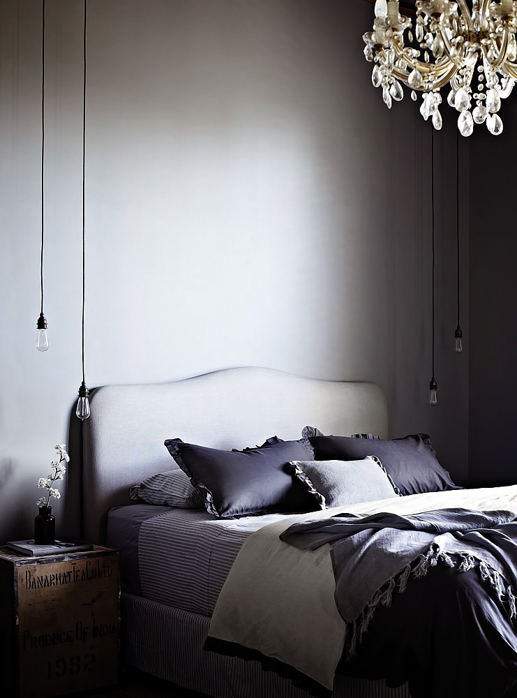 Pin by cheryl norman on grey black white bedrooms pinterest - Dark gray bedroom ...