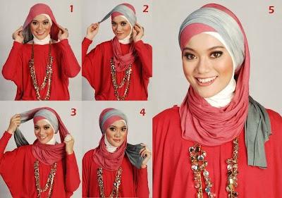... satu jilbab dua warna agar terlihat lebih cantik dan menarik