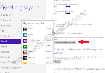 Windows 8 Uygulama Boyutu