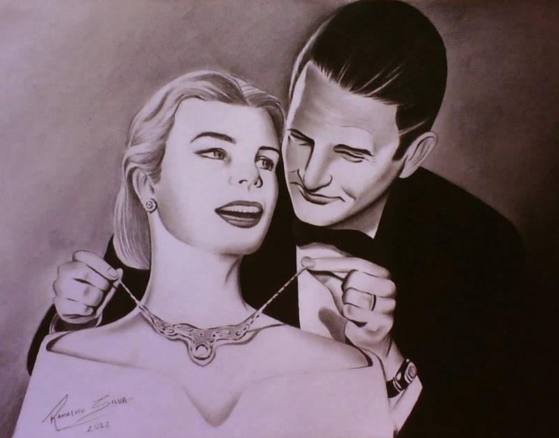 Homem, mulher e luxo (desenho em preto e branco)