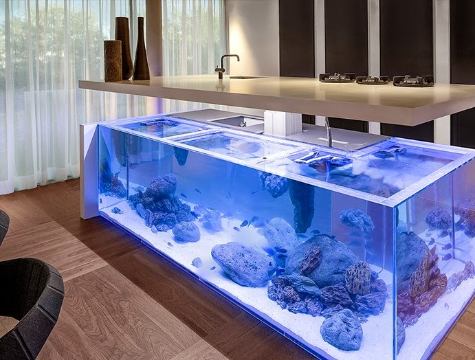 eye catching aquarium kitchen island with a storage space 3