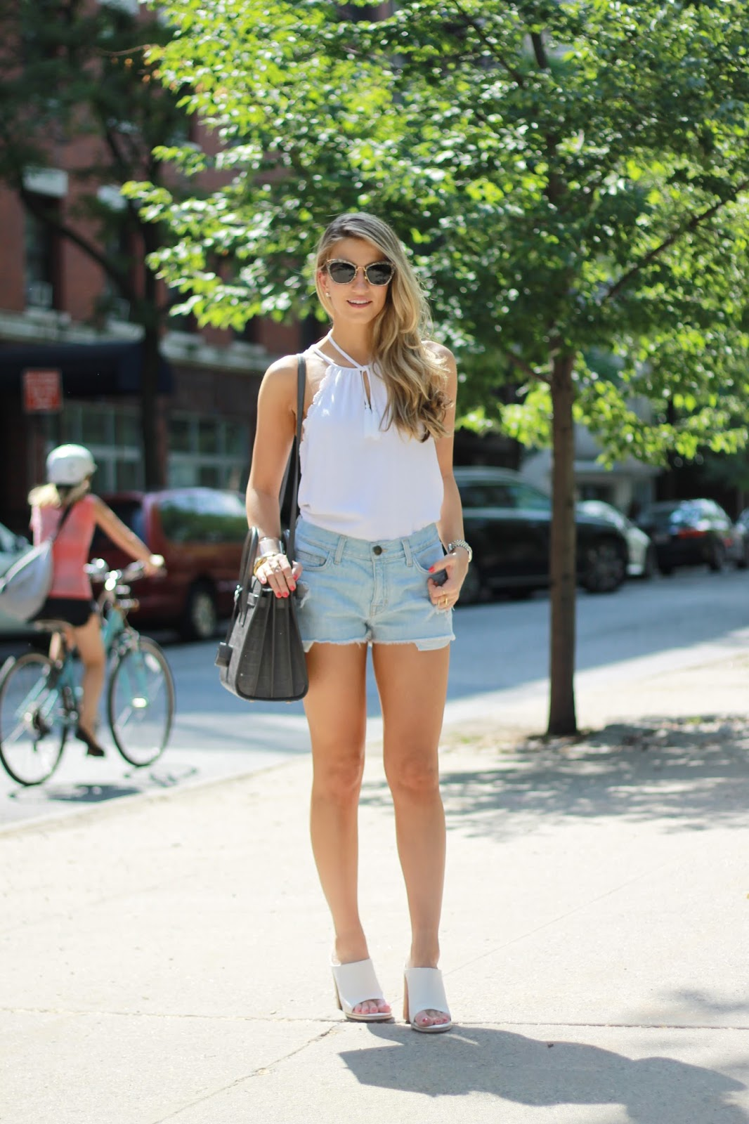 white scalloped top, denim boyfriend shorts