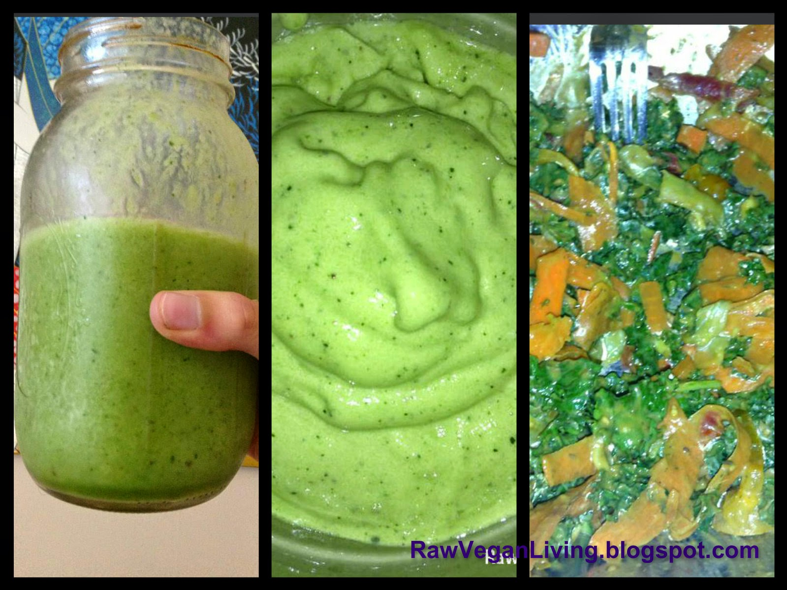 green monster smoothie, kale banana ice cream and green monster salad