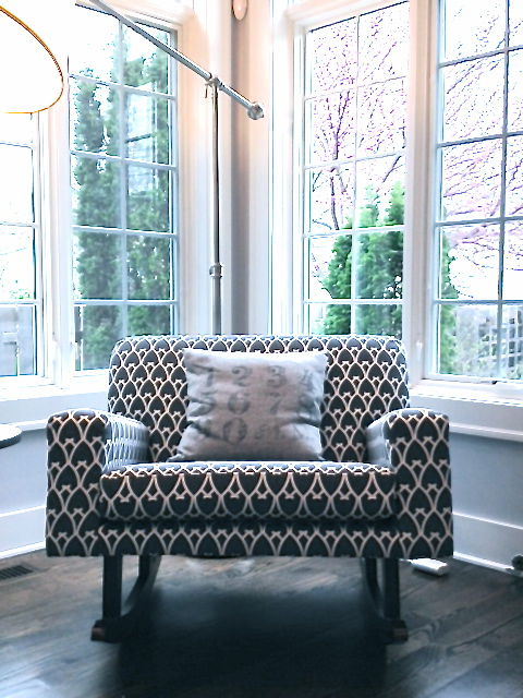 upholstered armchair arm chair sitting area reading nook tall windows garden view COCOCOZY Arch fabric charcoal gray