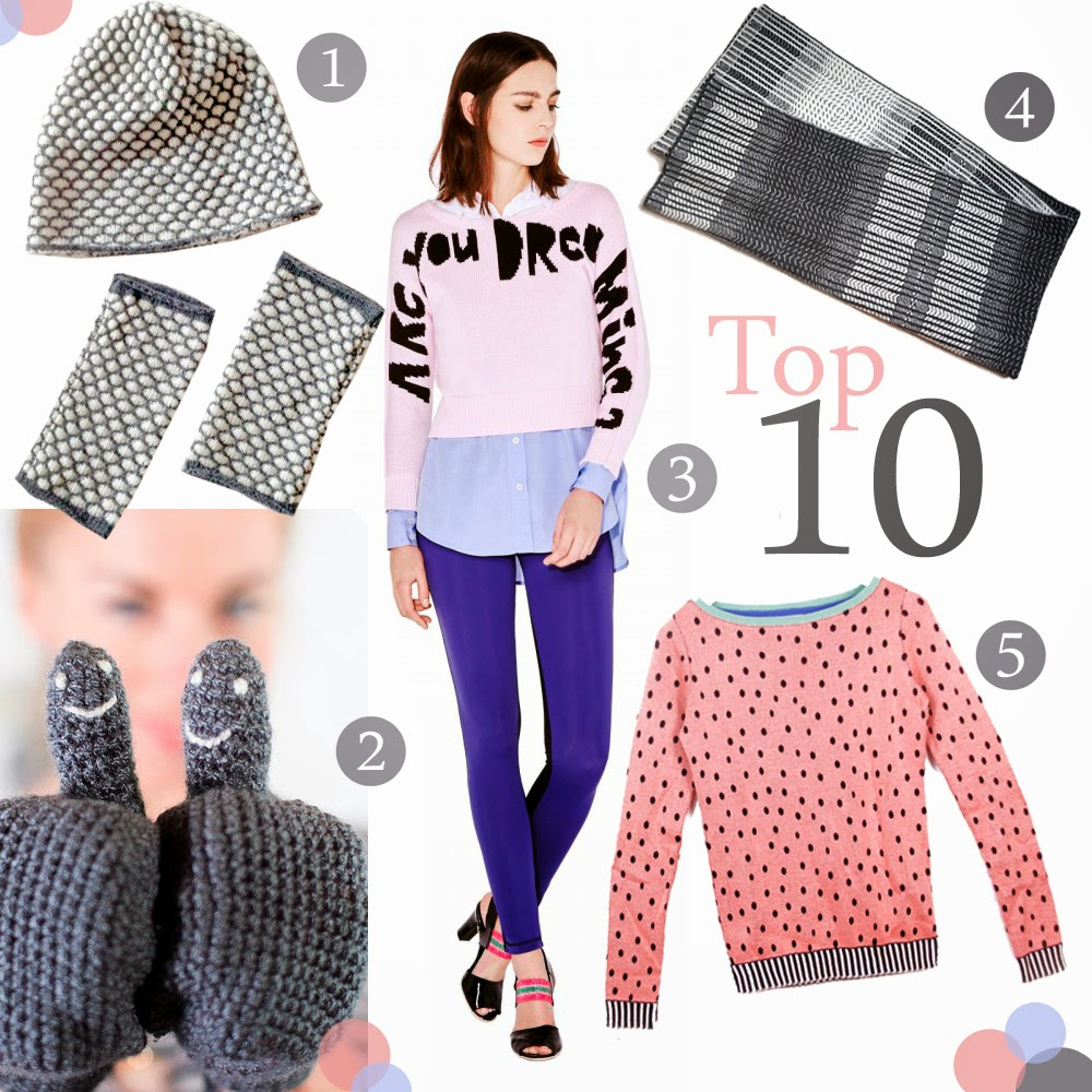 Top Ten, Top 10, Knitwear, NorClothing, Eka mittens, Sonia Rykel jumper, Hilary Grant Blanket Scarf, Shelia Couture Watermelon sweater