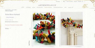 anthropologie felted bow garland