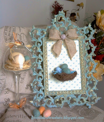 Spring Decor, Bird's nest wall art, mini cupcake stand, cloche, eggs, antique key