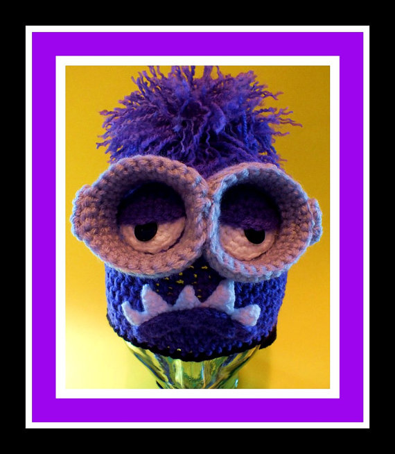 The Minion Purple Monster Inspired Hat Pattern© With Removable Goggles© By Connie Hughes Designs©