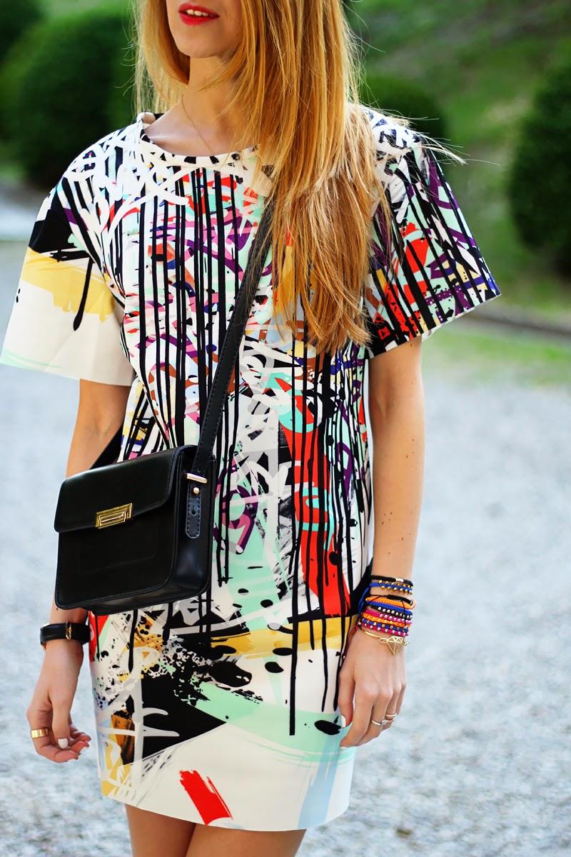 graffiti print dress, converse sneakers, Mango mini bag, spring outfit