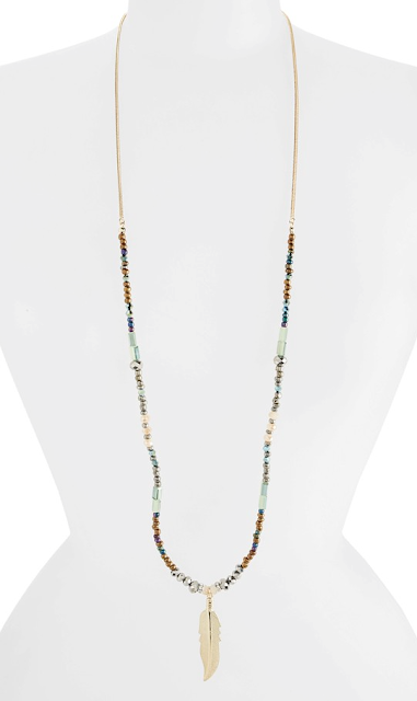 Topshop Leaf Pendant Necklace $22