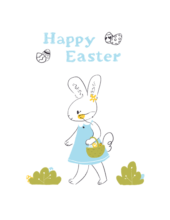 greeting card, easter, rabbit