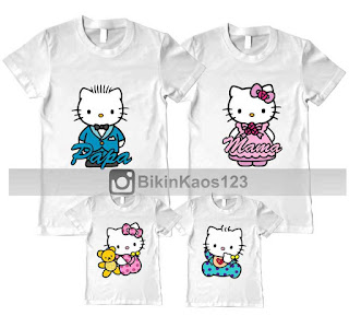kaos couple family hello kitty