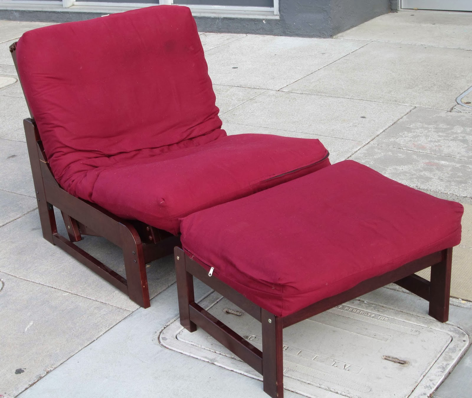 Sold Red Single Futon Chair Ottoman Cushions 70