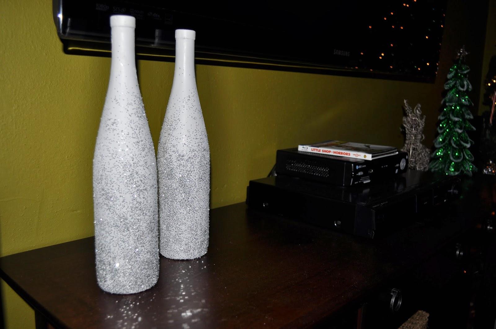 epsom salt, wine bottle, white paint, pinterest project, silver glitter