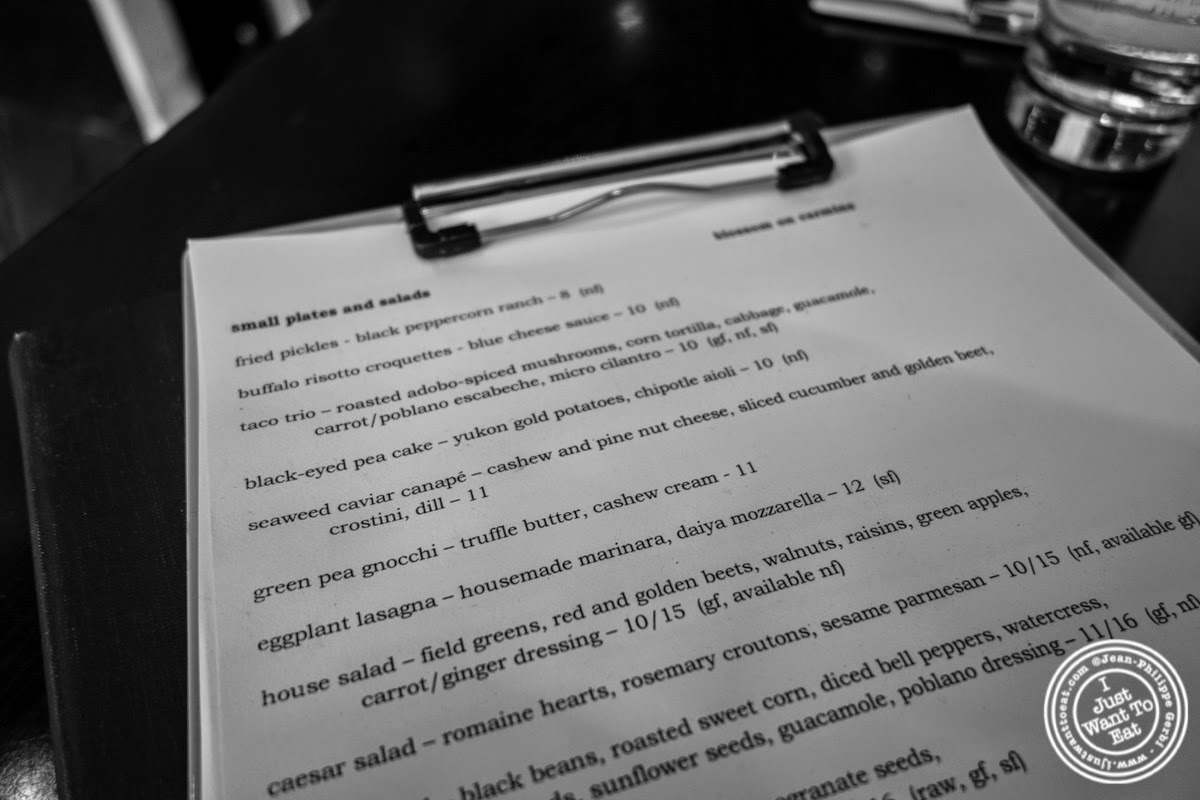 image of menu at Café Blossom on Carmine, New York, NY