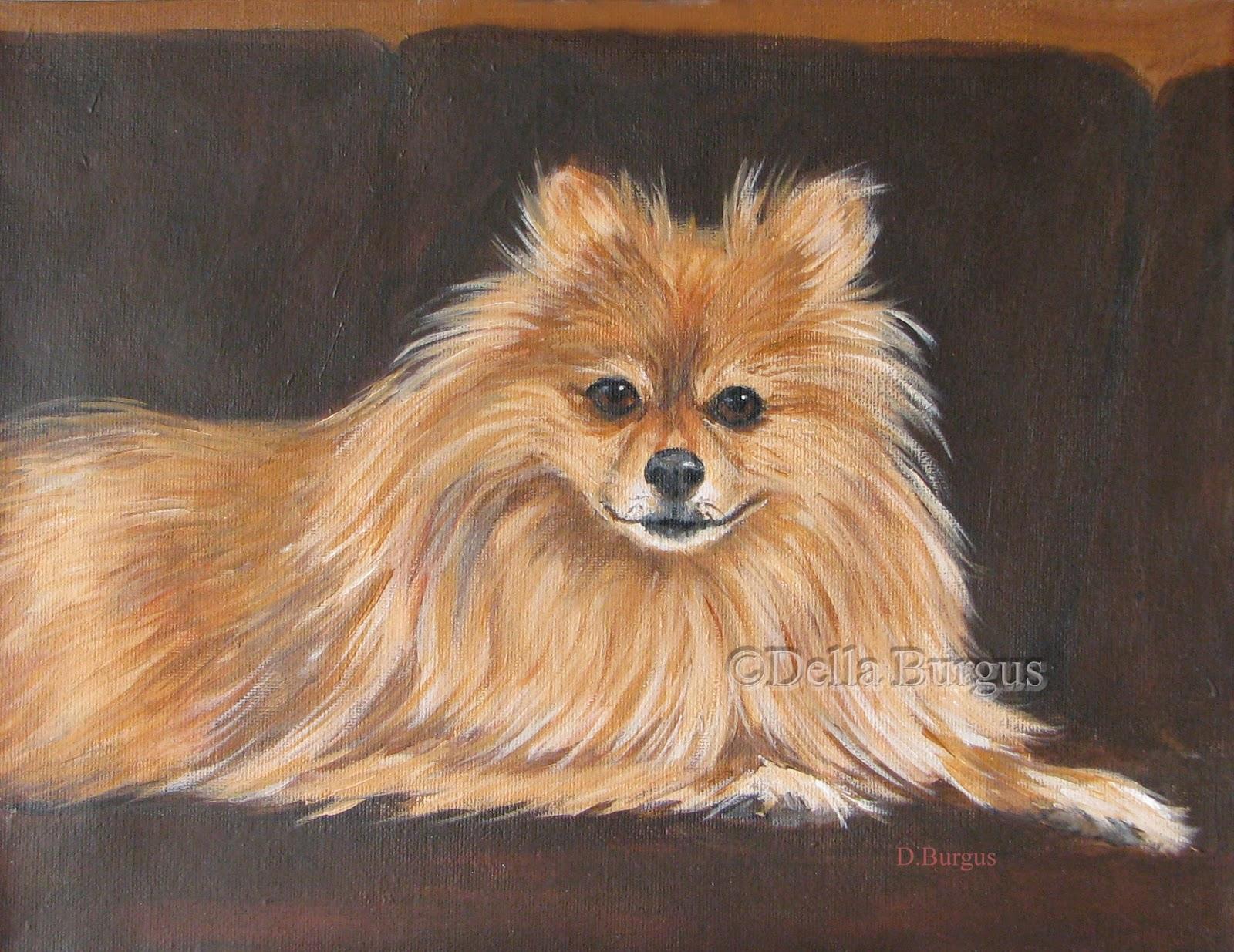 art helping animals  pomeranian acrylic painting by della