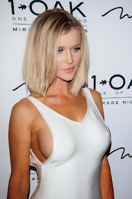 Joanna Krupa Sideboob in Clinging Dress at 1 OAK Nightclub in Las Vegas