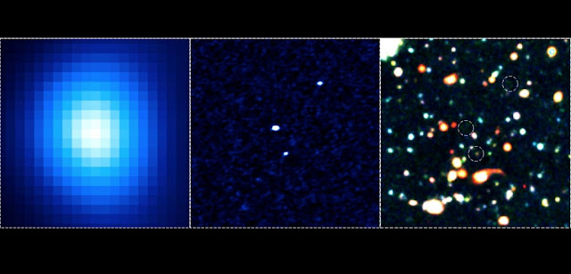 These are example of Monstrous Galaxies. On the left is the image taken at sub-millimeter wavelengths with ASTE. It looks like there is one bright monstrous galaxy. In the center is an image taken at the same sub-millimeter wavelengths, but this time using the new radio telescope facility ALMA. With 60 times better resolution and 10 times better sensitivity, we can see that actually there are 3 monstrous galaxies close together. On the right is the same region photographed in visible light by the Subaru Telescope. We can see that not all of the monstrous galaxies show up in this picture, or at the least that some of them must be very faint. Credit: ALMA (ESO/NAOJ/NRAO), NAOJ, H. Umehata (The University of Tokyo)