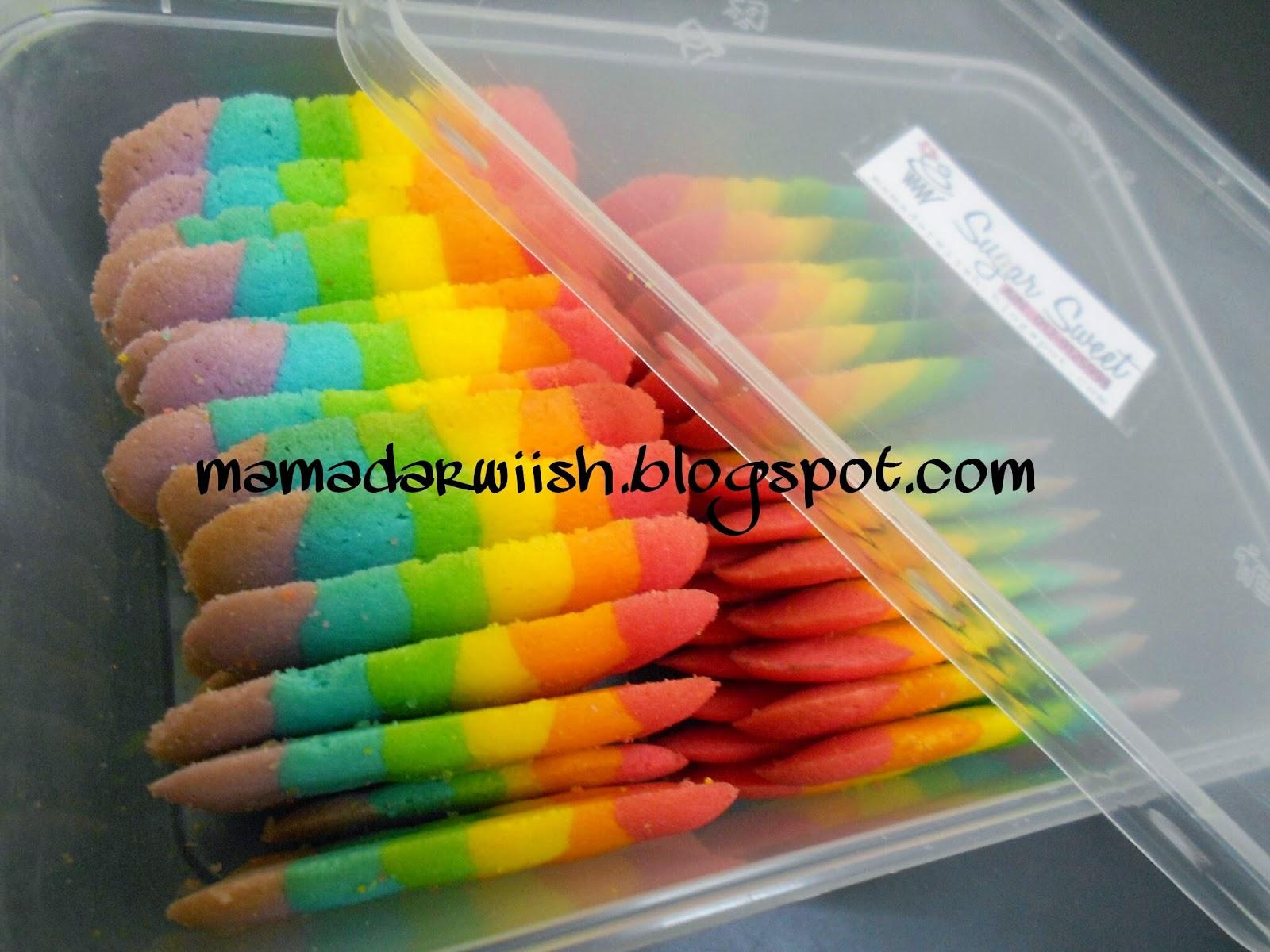 Resepi Biskut Lidah Kucing Rainbow Cookies Paling Sedap