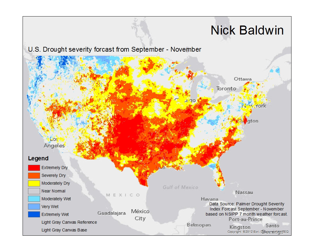 for our fourth lab we ve been studying drought in the us below is a map i made that details the predicted drought forcast from september through november