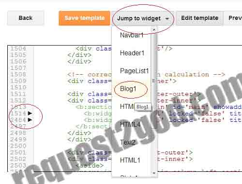 Edit Different Widgets in New Blogger Template HTML editor