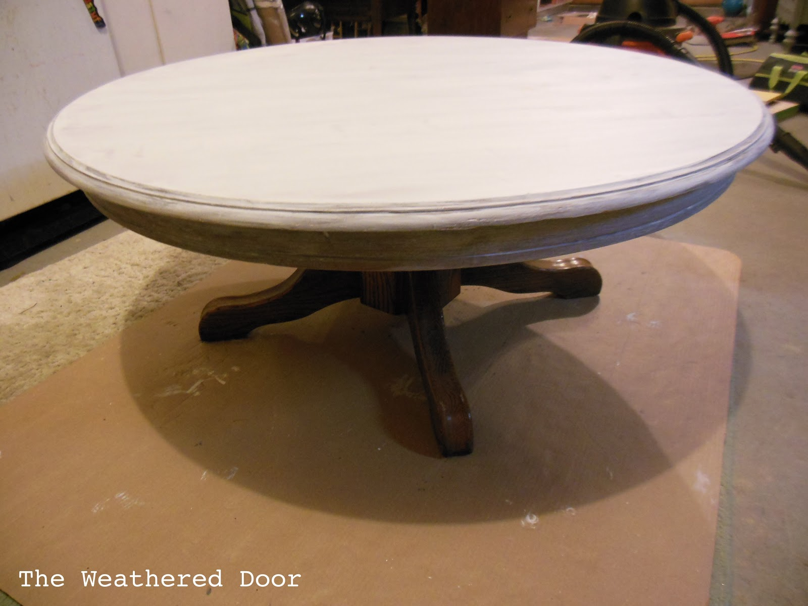 White round pedestal coffee table - Painted Pedestal Coffee Table The Weathered Door