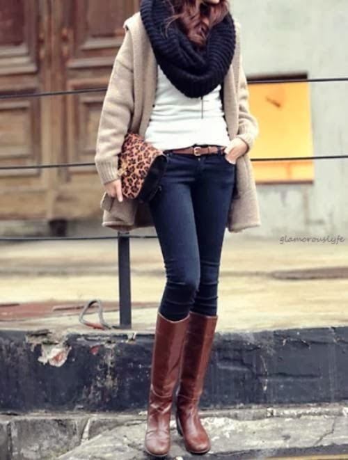 Fall street style of black scarf, cardigan and jeans