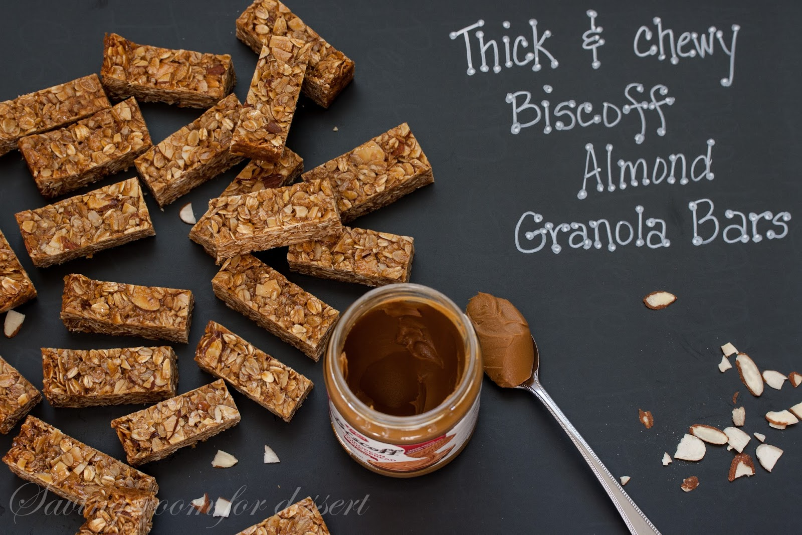thick and chewy biscoff almond granola bars - Saving Room for Dessert