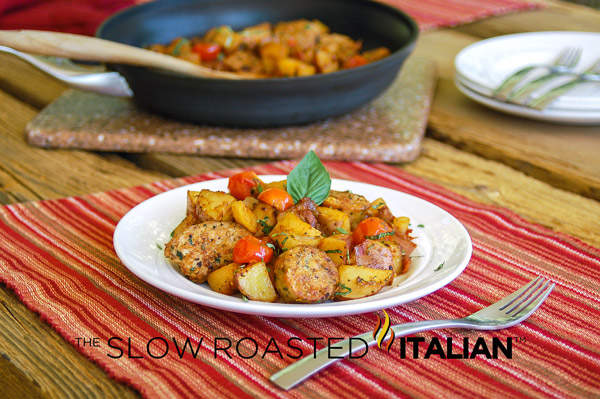 Easy One Skillet MealHearty Italian Sausage and Potatoes