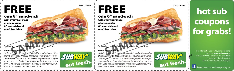 Subway Free Sandwich Coupon