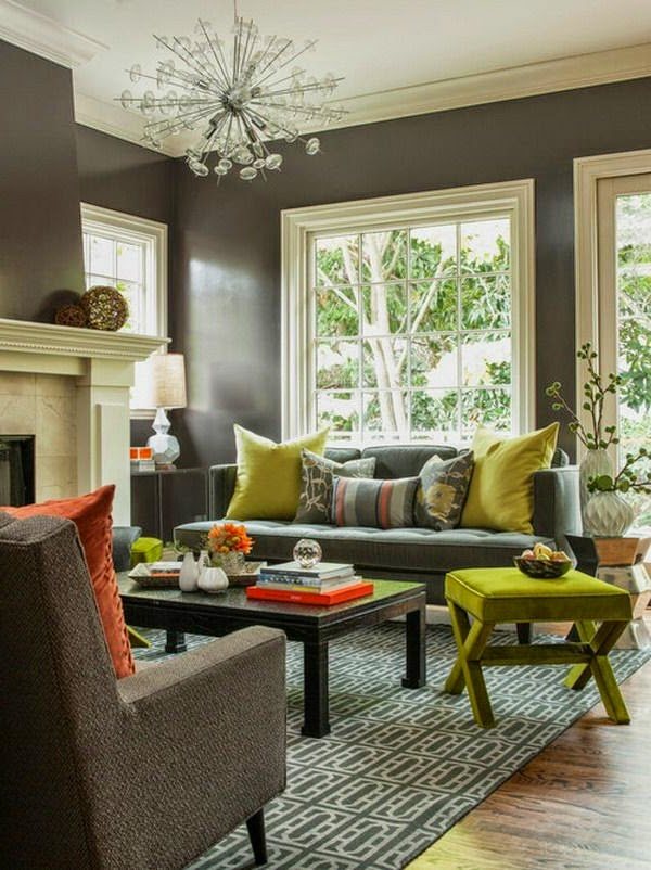 warm living room paint color ideas dark gray walls and furniture