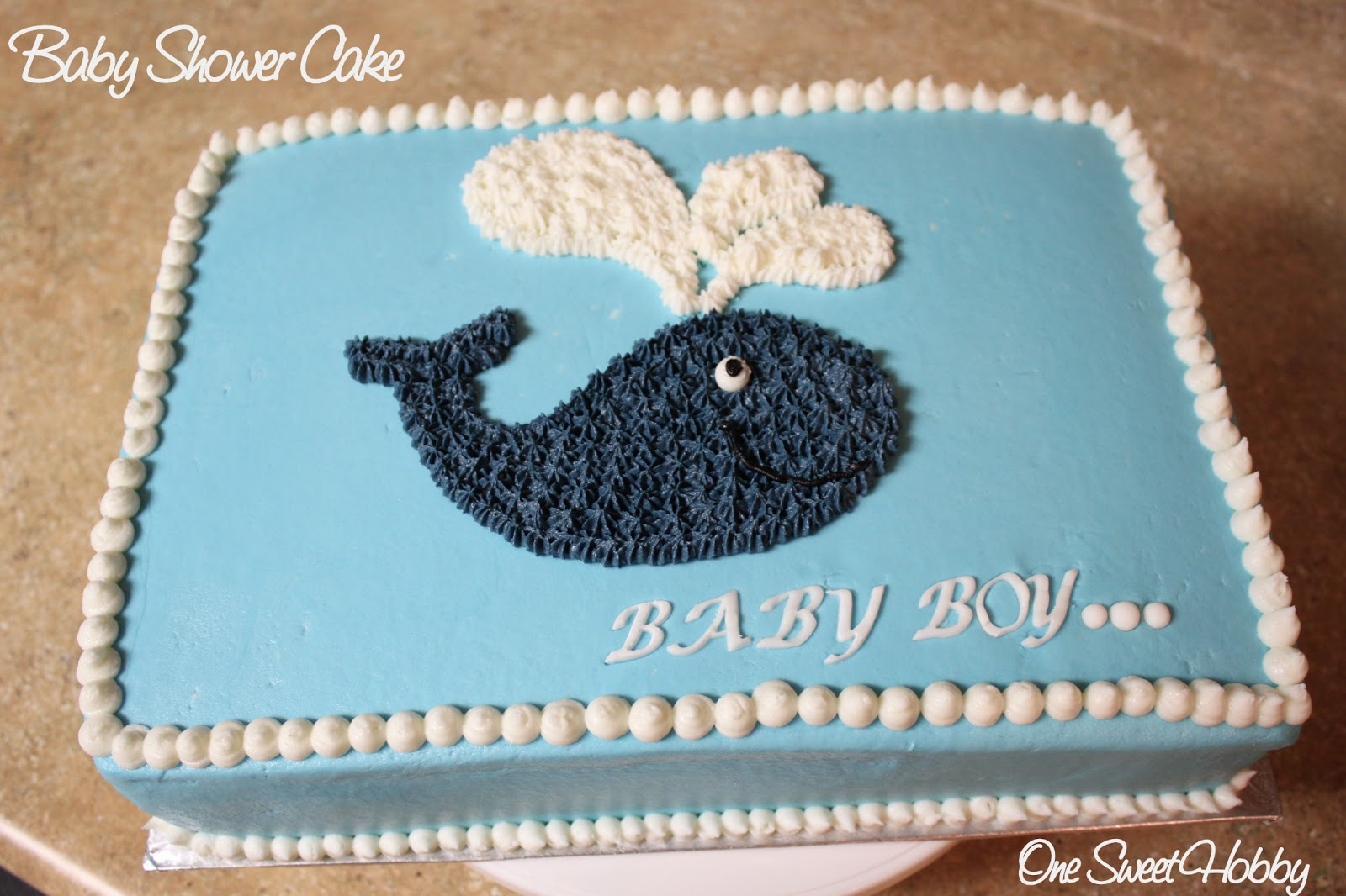 One Sweet Hobby Whale Baby Shower Cake