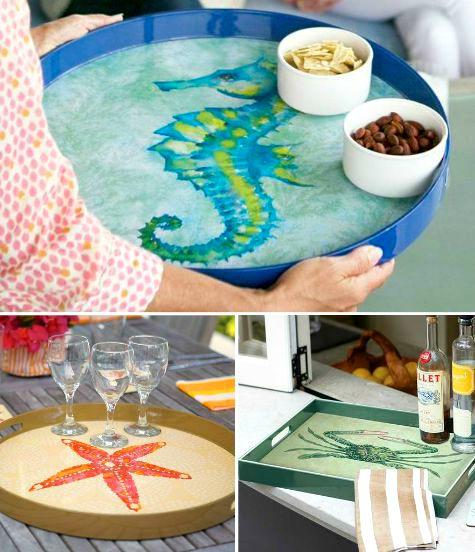 decorative coastal sea life serving trays - Decorative Serving Trays
