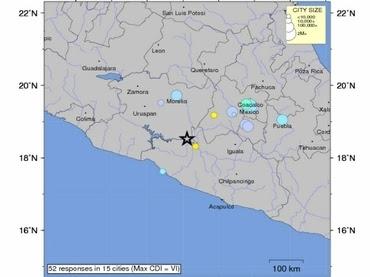 Sismo de mediana intensidad sacude centro de México, 01 de Mayo de 2012