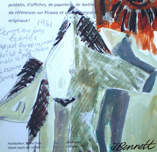 ink and gouache sketch of Picasso painting by artist jane Bennett