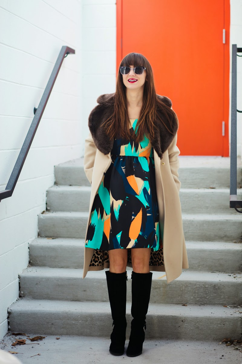 artwork dress, anthropology sale, anthropology dress, red lipstick, camel coat, fur collar coat, knee huh suede boots, black suede boots, winter dress, winter dresses on sale, kate spade winter coat
