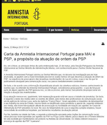 Carta da Amnistia Internacional; Carta; Amnistia Internacional; AI; PSP; Polícia; Violência Policial; Lisboa; Porto; Portugal