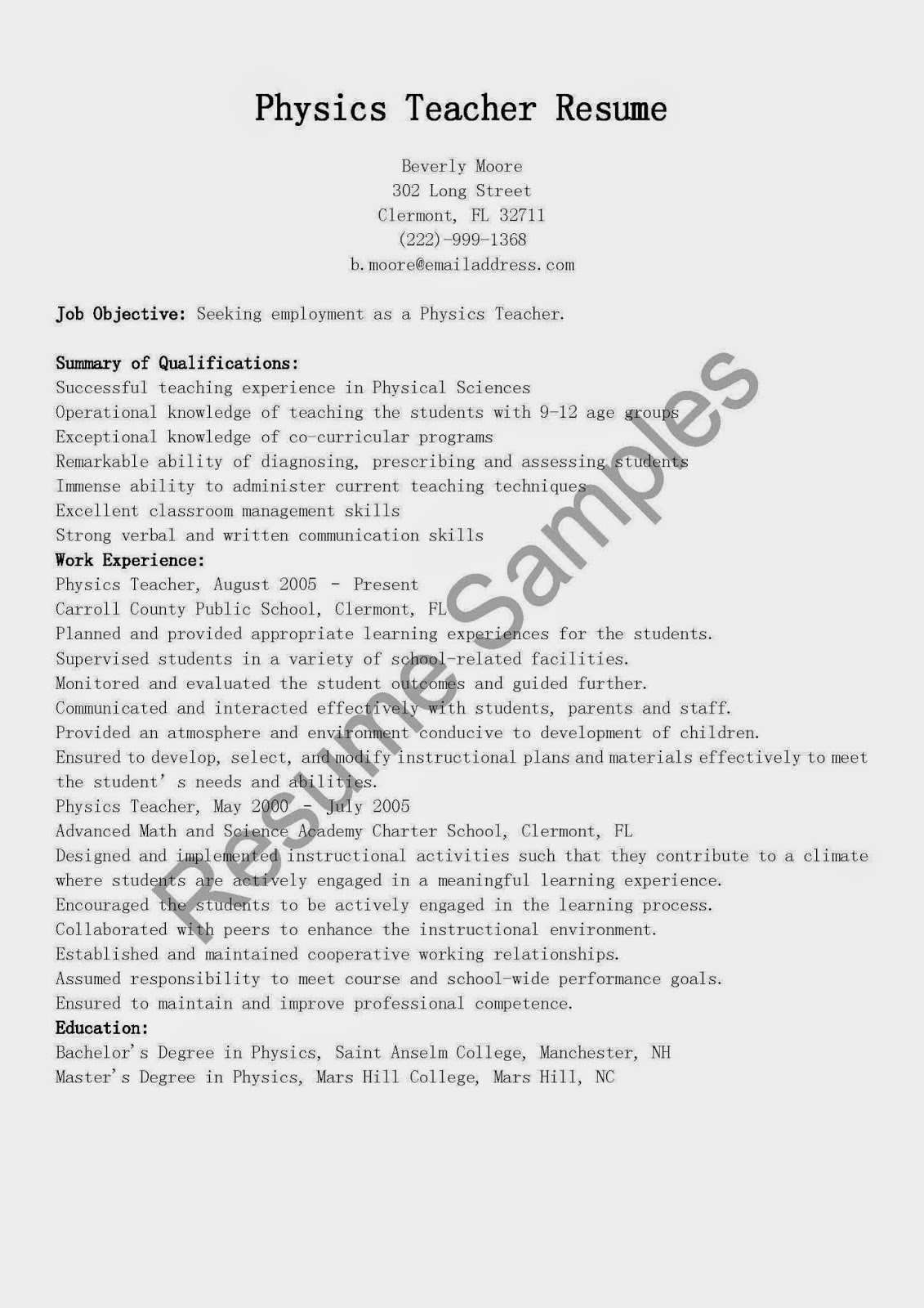 resume for physics physics teacher resume sales teacher lewesmr