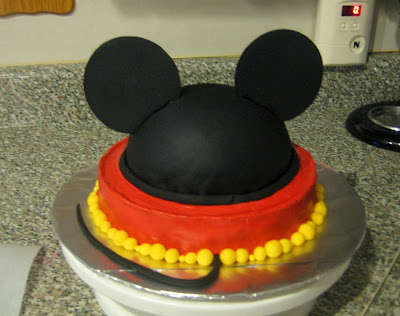Mickey Mouse Ears Teacher Appreciation Cake - Tail Attached Back View