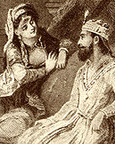 Queen Scheherazade tells her stories to the Sultan in 1001 Arabian Nights