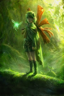 Image: Saria, a young-looking girl, glances sideways at the camera from atop a moss-covered log. She wears a green shirt, shorts, boots, cloak, and on her back, a humongous flower. Her short, lime-green hair is held back by a green headband, upon which is the Forest Medallion. To her right, her fairy floats diligently; and to her left, the Gread Deku Sprout –a tuber with a face– peers cheerfully over the log. Everything is drawn in beautiful, photo-realistic detail, as if the light that reached them were dribbling down from the branches. Caption: