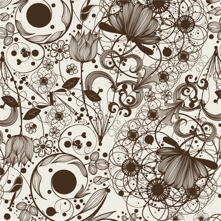 精緻な植物の線画の背景 simple and elegant pattern background イラスト素材4