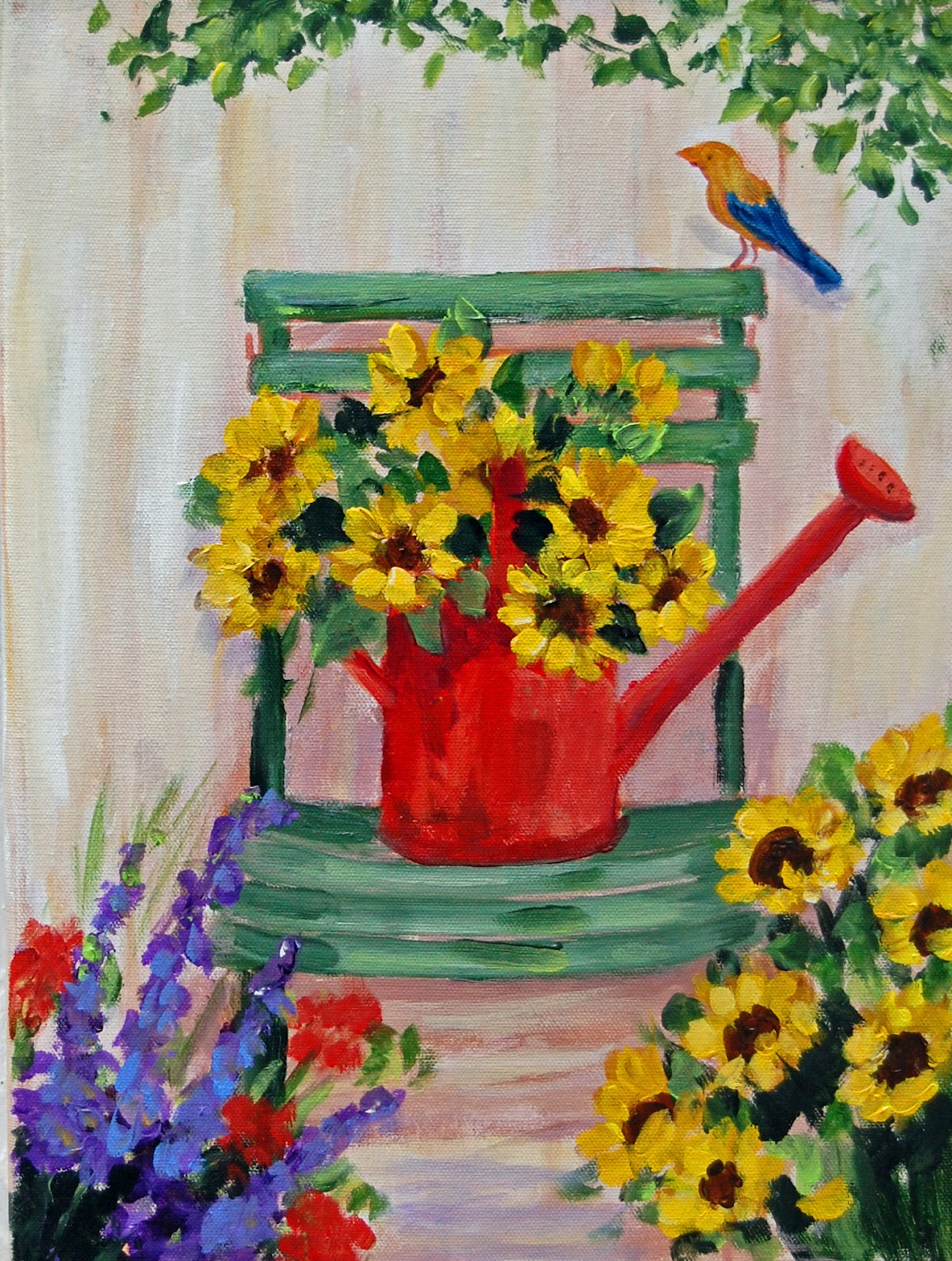 My painted garden painting sunflowers and a little green chair mightylinksfo