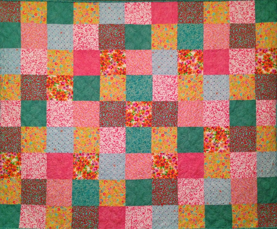 Suzanne Oldham's Turquoise, Yellow and Peach Quilt
