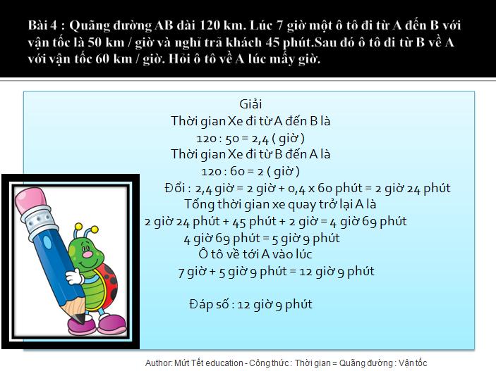 Bài tập tính thời gian trong chuyển động đều - toán lớp 5(6)